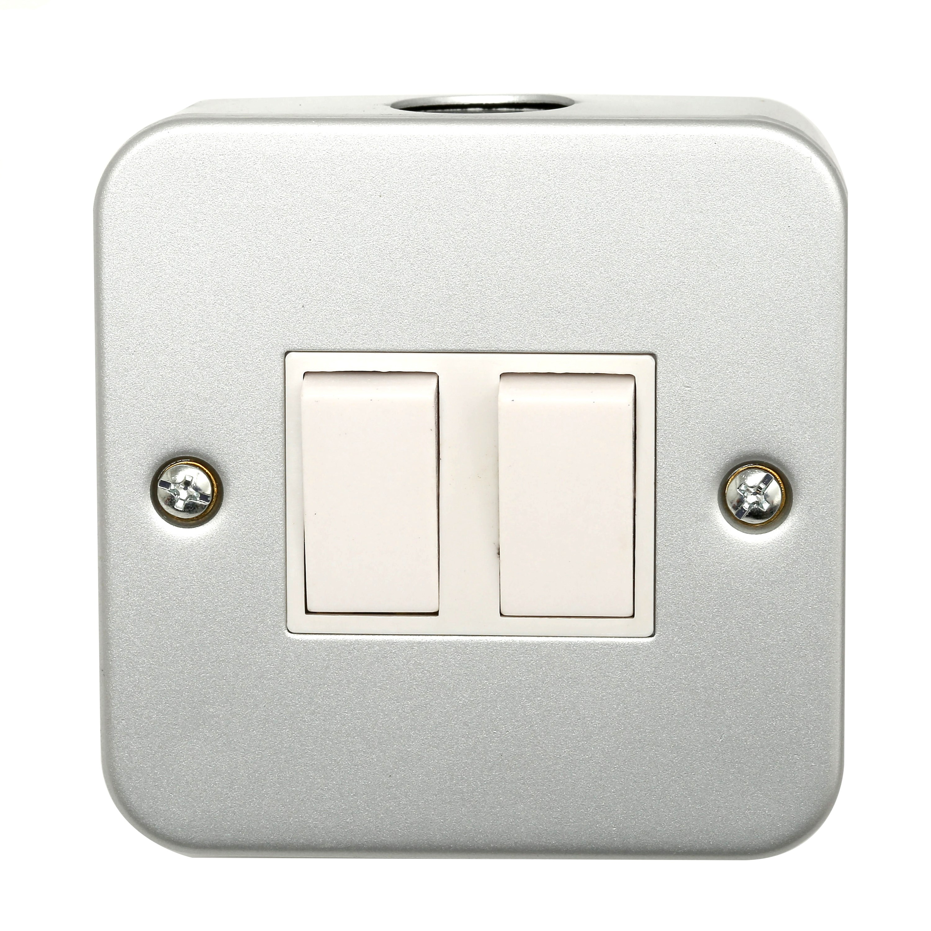 Phoenix  2 Gang 2 Way Metal Clad Plate Switch