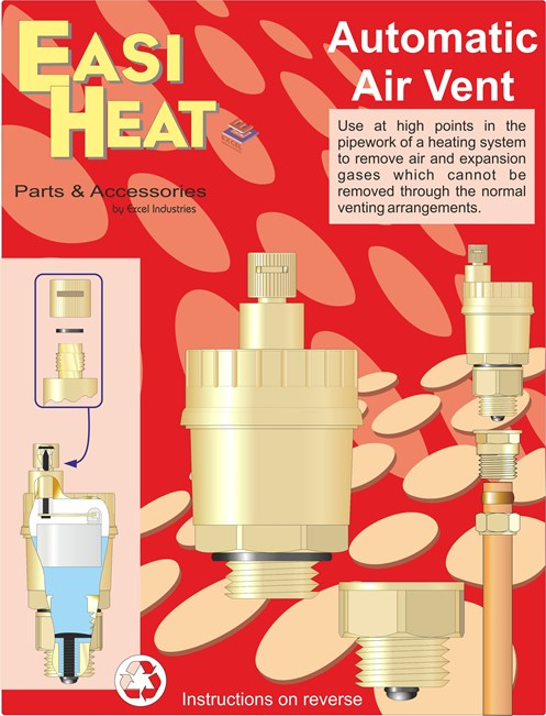 easi heat automatic bottle type air vent - 1/2in | radiator