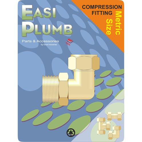Easi Plumb  616 M.I. x Metric Brass Compression Elbow Coupling Pipe Fitting