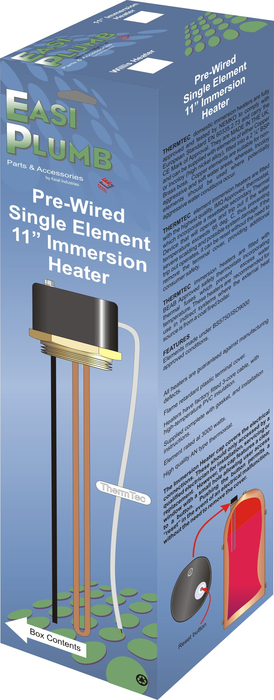 Easi Plumb  Single Element Immersion Heater - 11in