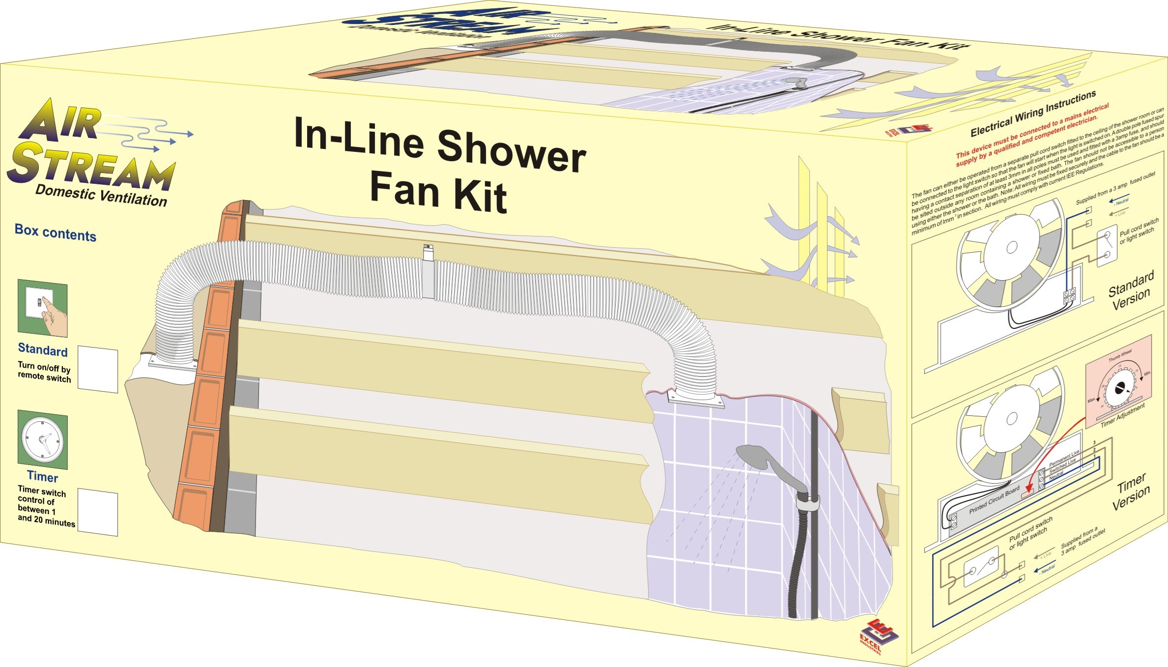 Airstream  In-Line Timer Shower Fan Kit - 100mm