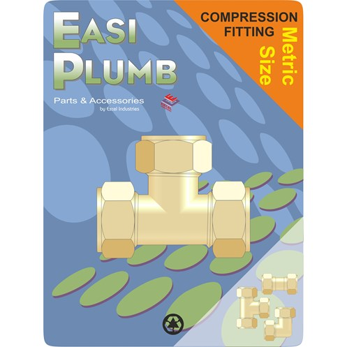 Easi Plumb  318 Metric Brass Compression Unequal Tee Pipe Fitting