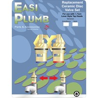 Easi Plumb  Pair of Replacement Ceramic Disc Valves with Bushings for Bath Taps - 3/4in