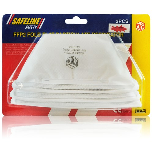 Safeline  Fold Flat Dust Mask - 2 Pack