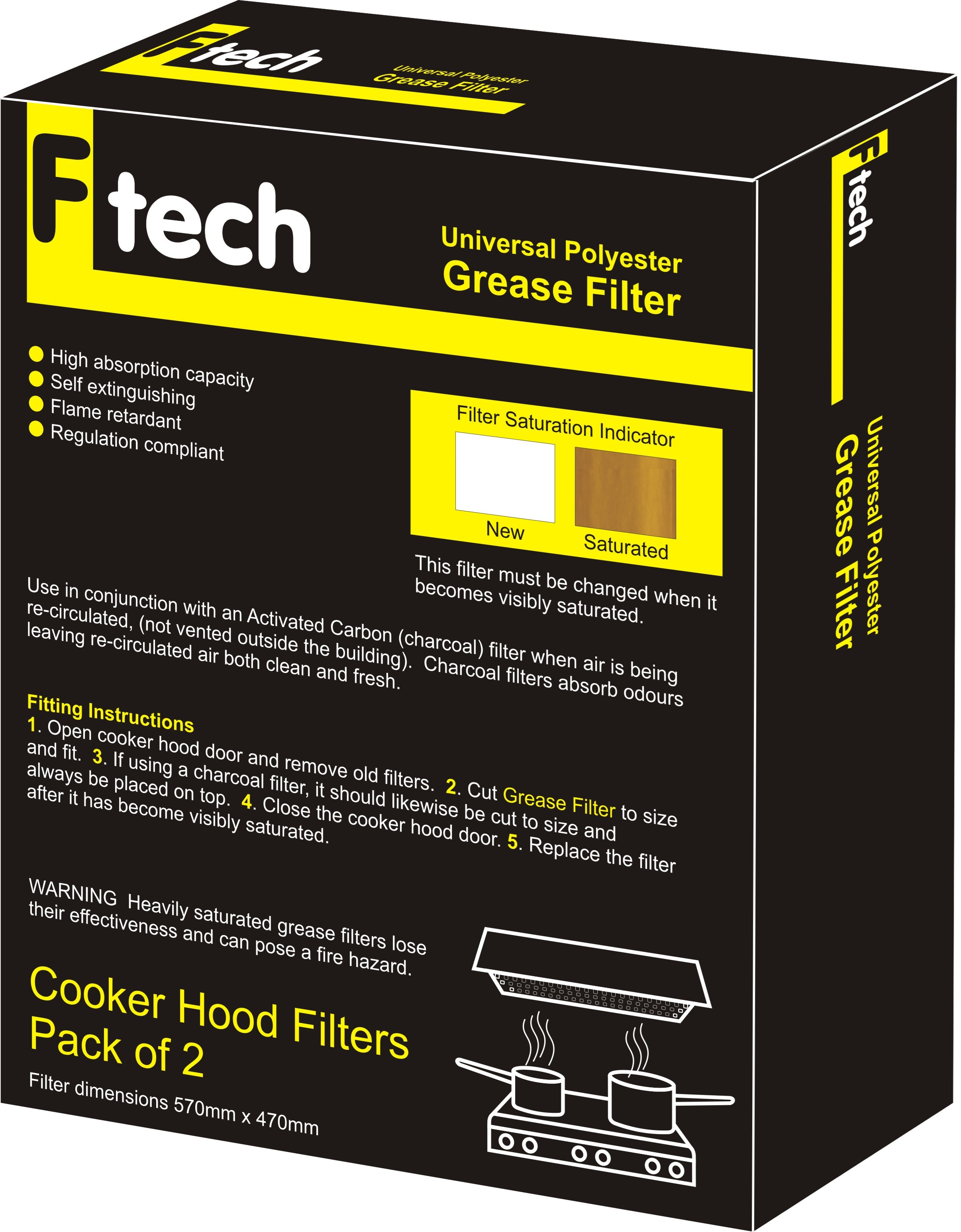 Fiber Tech  Yellow Universal Polyester Grease Filter - 2 Pack