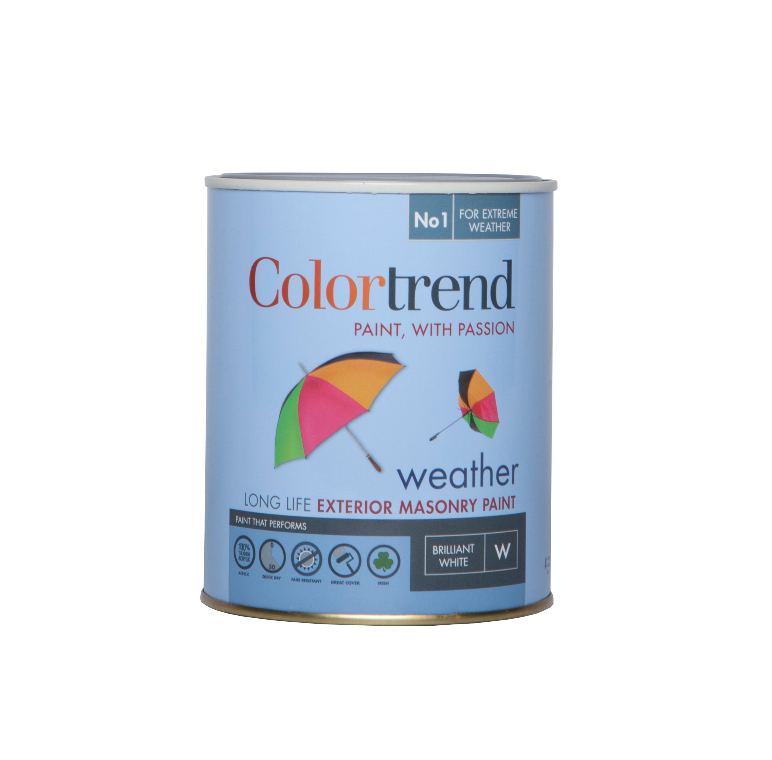 Colortrend  Weather Exterior Masonry Paint Pure Brilliant White - 1 Litre