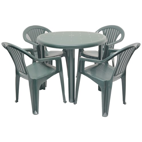 Culcita  5 Piece Round Resin Garden Set - Green