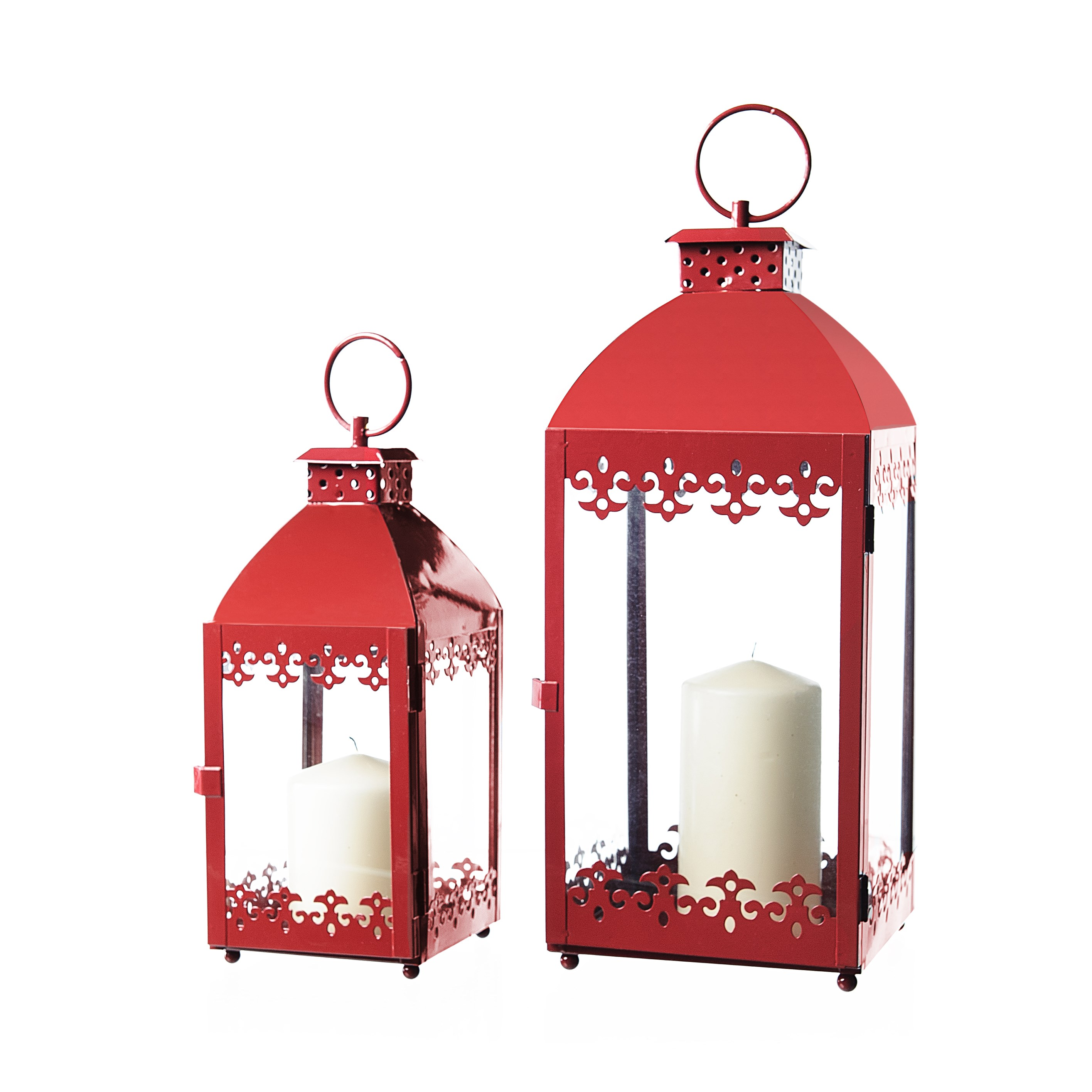 Allison Garden Land  Set of 2 Metal Lanterns - Red