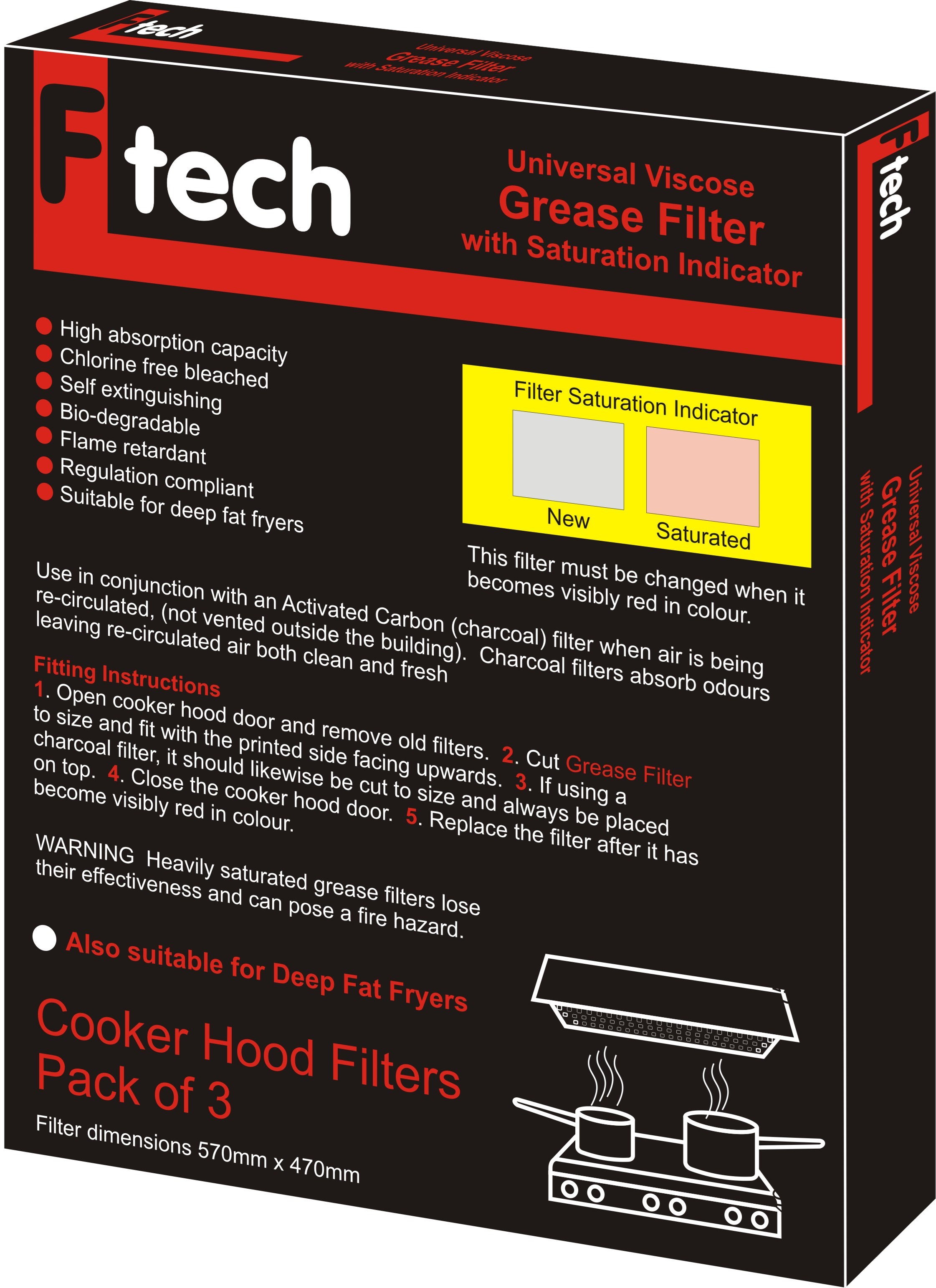 Fiber Tech  Red Universal Viscose Grease Filter - 3 Pack