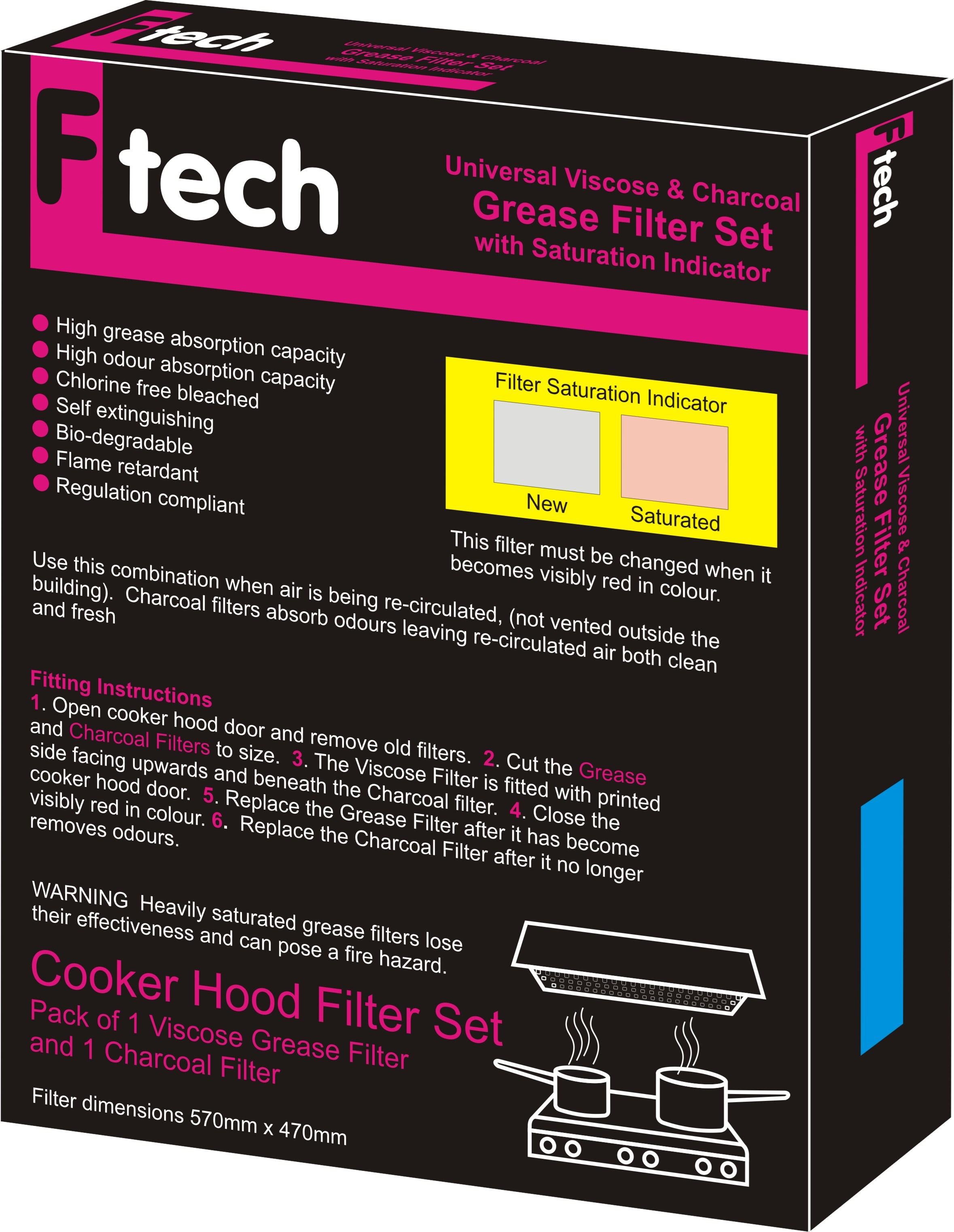 Fiber Tech  Pink Universal Viscose & Charcoal Grease Filter Set
