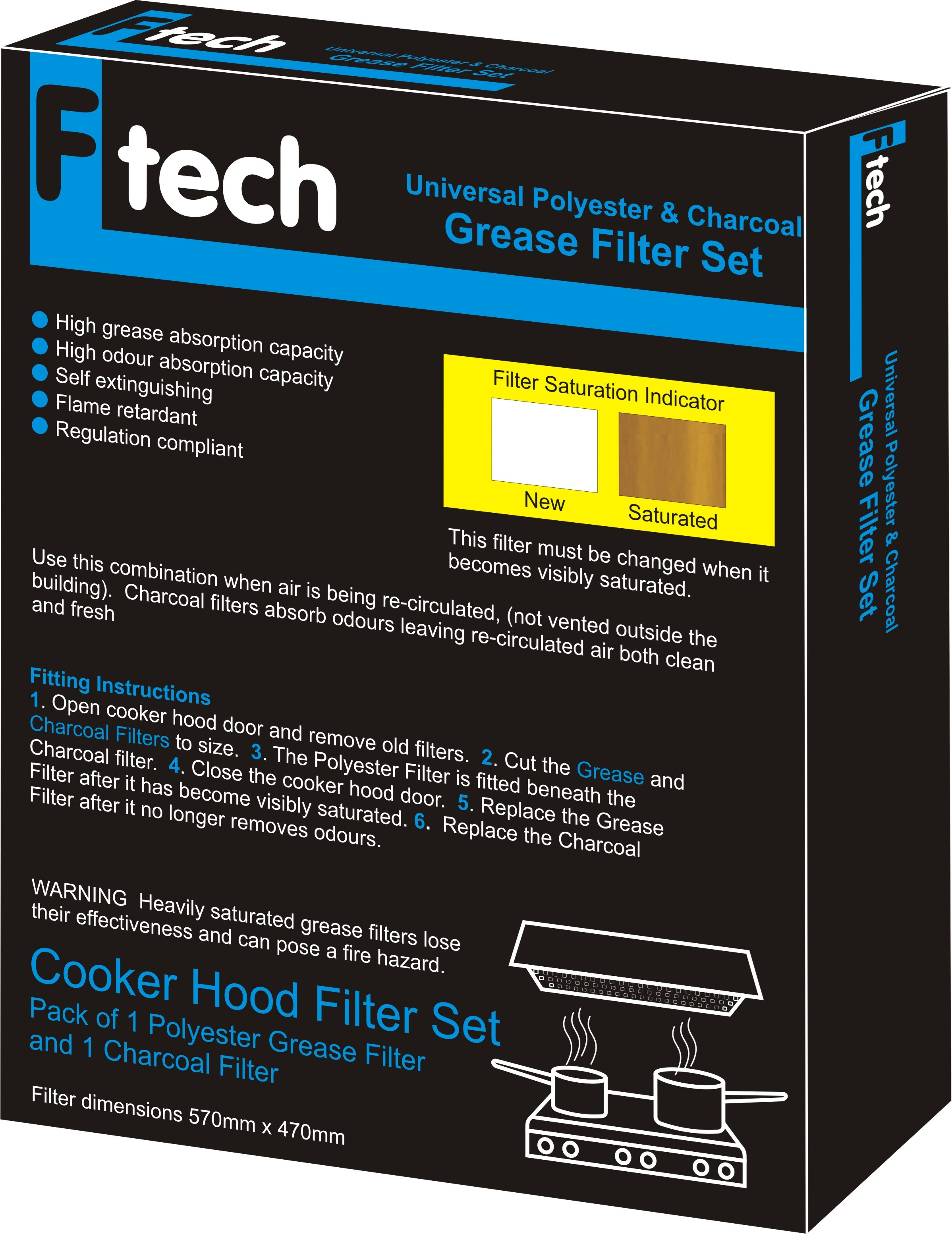 Fiber Tech  Blue Universal Polyester & Charcoal Grease Filter Set