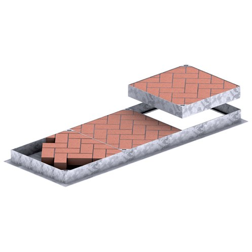 Galco  Recessed Pedestrian Traffic Access Cover for Paving Bricks - 95mm