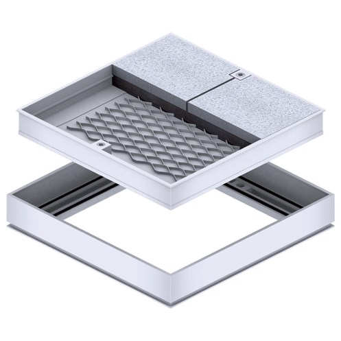 Galco  Aluminium Recessed Access Cover & Frame for Tiles - 37mm