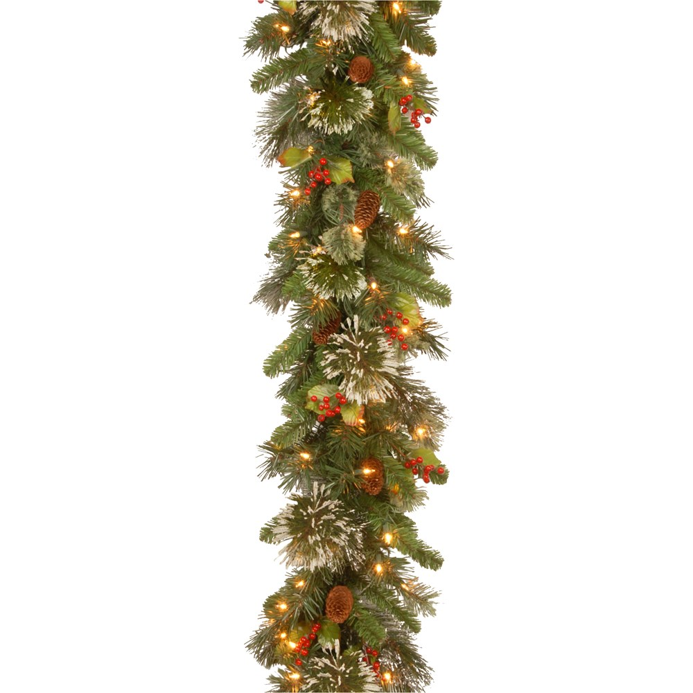 national tree company wintery pine christmas garland with led lights pine cones berries 9 x 12in - Christmas Decorations With Large Pine Cones