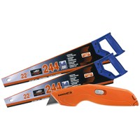 Bahco  244 Handsaw Twin Pack with Retractable Knife