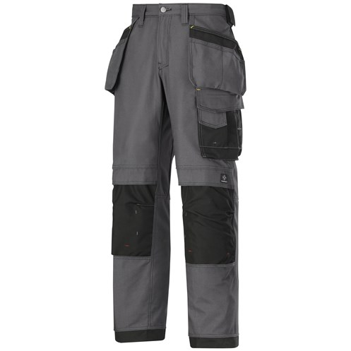 Snickers  3214 Craftsmen Canvas+ Holster Pocket Trousers - Steel Grey/Black