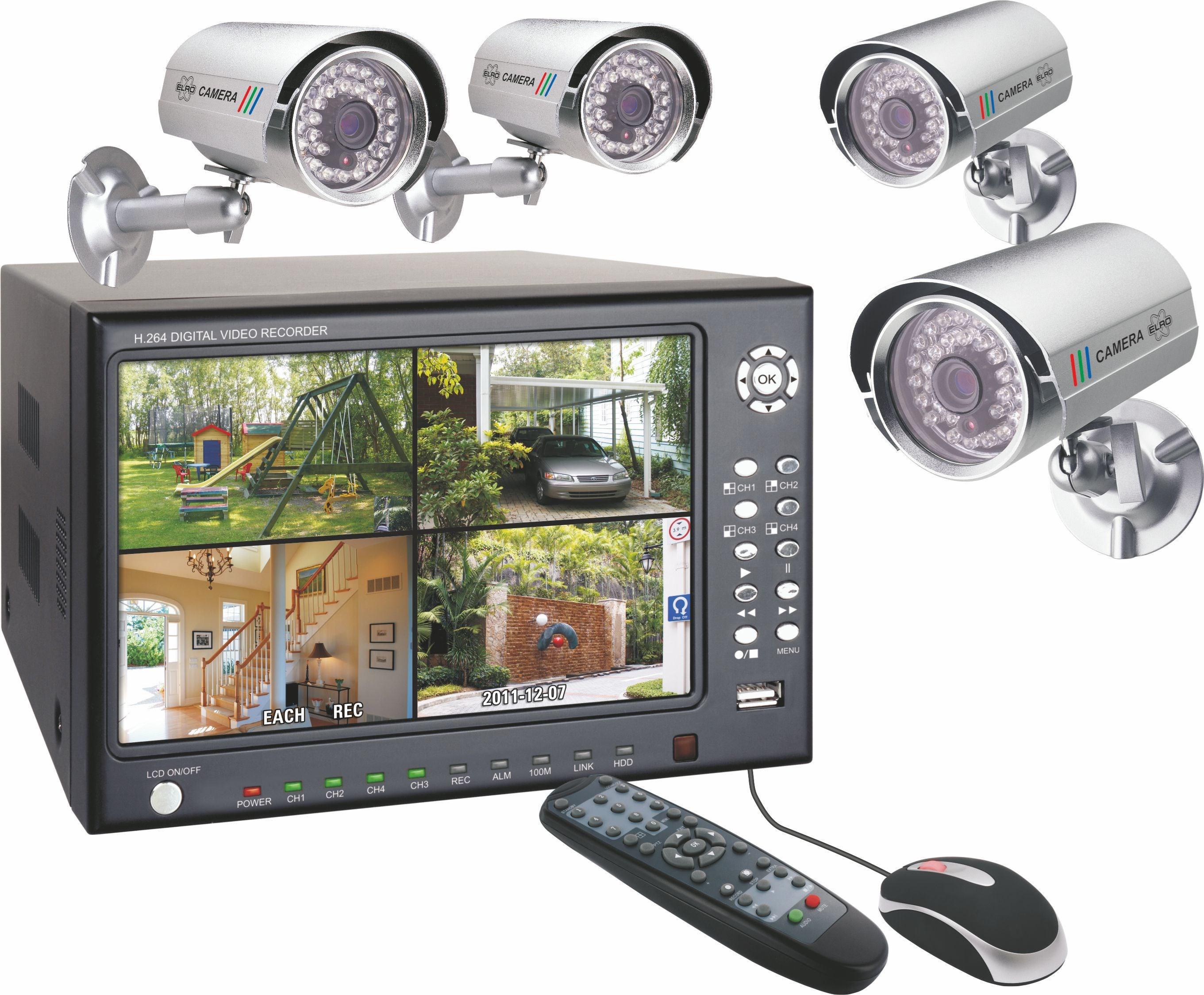 elro security system with 4 colour security cameras 7in. Black Bedroom Furniture Sets. Home Design Ideas