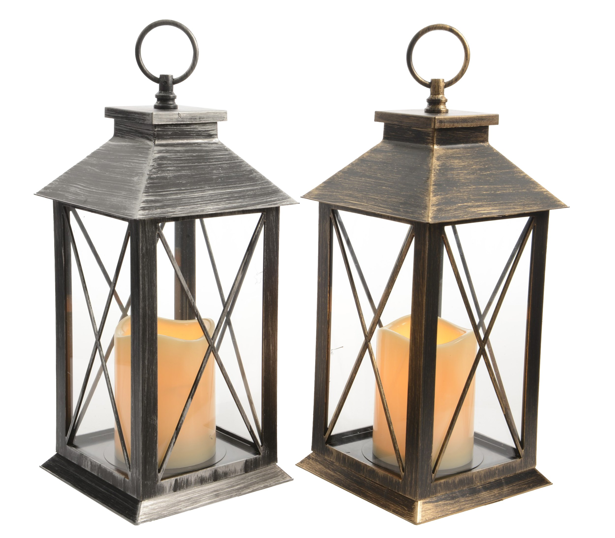 Kaemingk  Traditional Lantern with LED Candle & Timer - Antique Silver