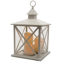 Kaemingk  Traditional Lantern with 3 LED Candles & Timer - Antique White