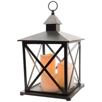 Traditional lantern with 3 LED Candles & Timer - 41cm