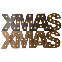 LED Wooden Xmas Sign - Natural & Grey
