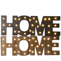 LED Wooden Home Sign - Natural & Grey