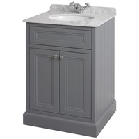 Bathroom Studio  Charlotte 60cm Slate Grey/White Marble Unit & Basin